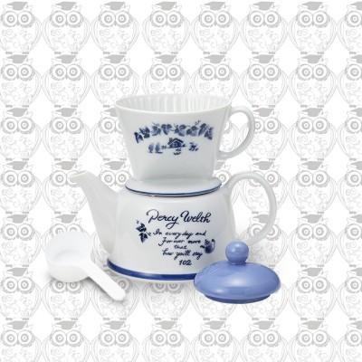 【日本】Kalita咖啡花茶兩用精美陶瓷咖啡壺套組(海軍藍)