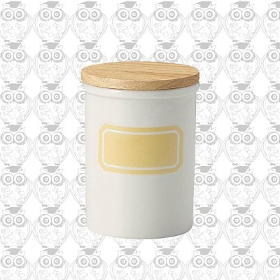 【日本】K-AI貝印 簡約陶瓷密封罐(淺鵝黃)