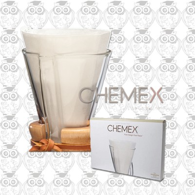 【美國】CHEMEX經典手沖玻璃咖啡濾壺300ml專用濾紙